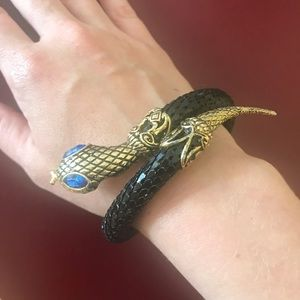 Vintage snake wraparound bracelet blue black gold